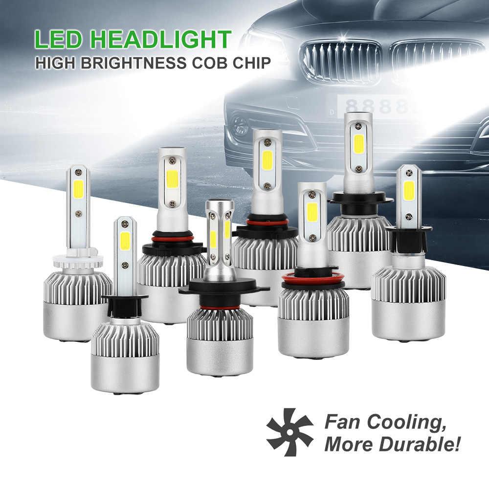 2PCS H4 H1 H7 H11 9005 9006 LED Car Headlight 72W 8000LM Ultra Bright COB LED Lamp 6000K 12V 24V For Auto Headlamp Replace