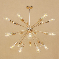 Golden satellite chandelier lighting for dining living room 9/12/18/21 heads Silver Nordic industrial restaurant hanging lamp|Chandeliers| |  -