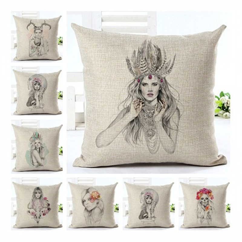 European Style Pillowcase Sketch Girl Cushion Cover Pillow Case For Sofa Home Decor F