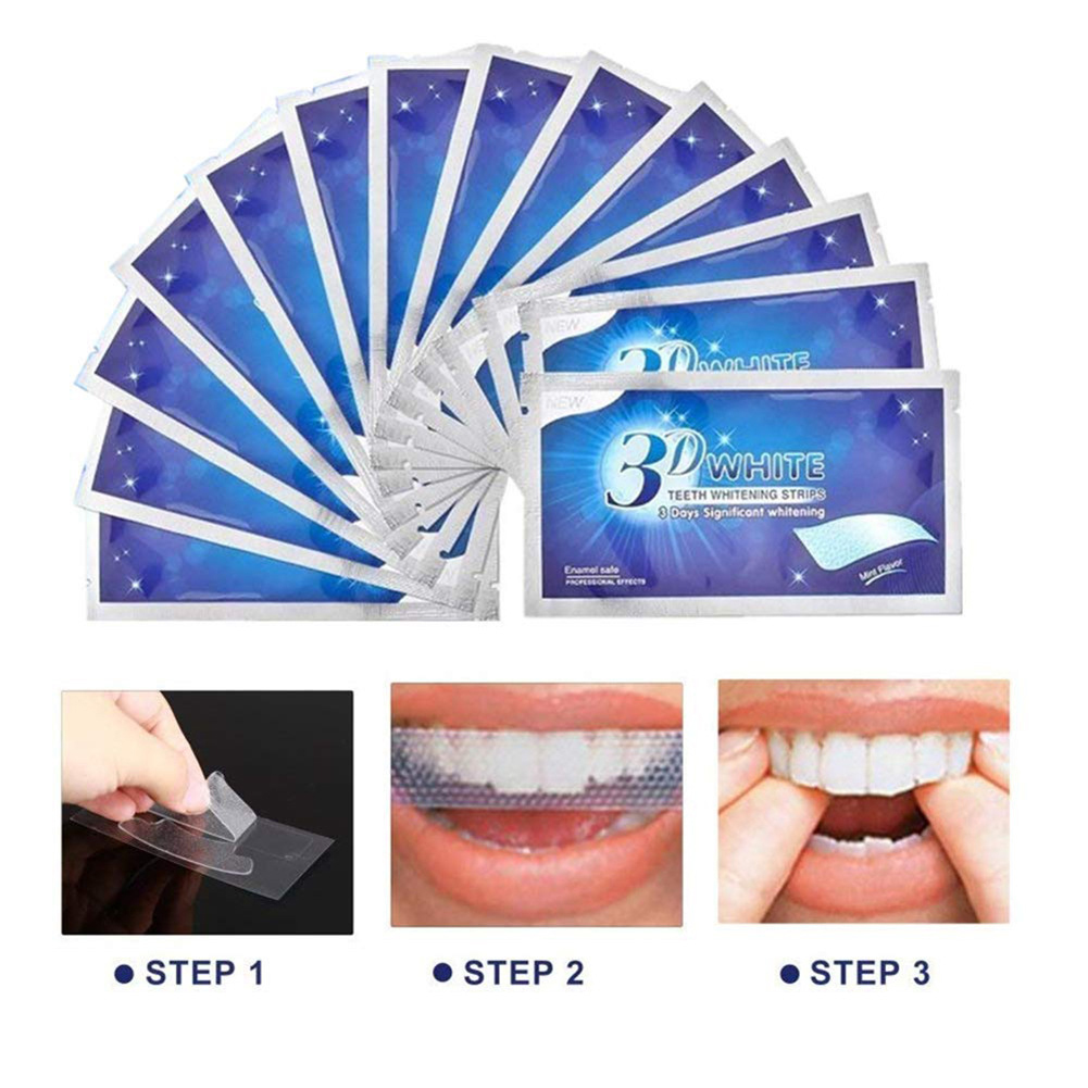 28 Pcs/box 3D White Gel Teeth Whitening Strips Oral Hygiene Care Double Elastic Teeth Strips Whitening Dental Bleaching Tools