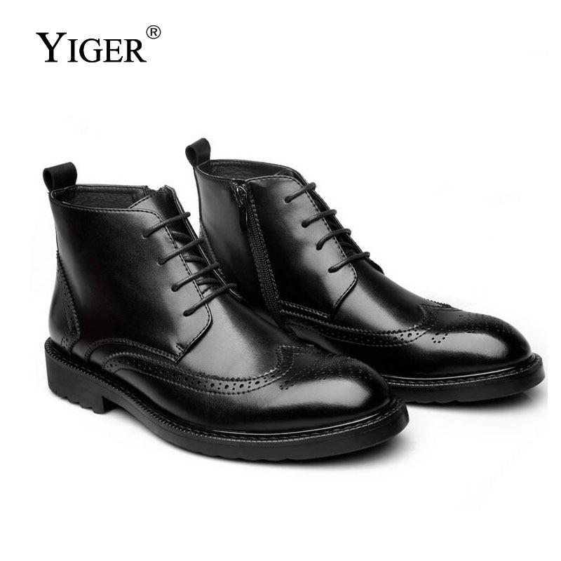 YIGER ΝΕΑ Μπότες Άνδρες Γνήσια - Ανδρικά υποδήματα - Φωτογραφία 2