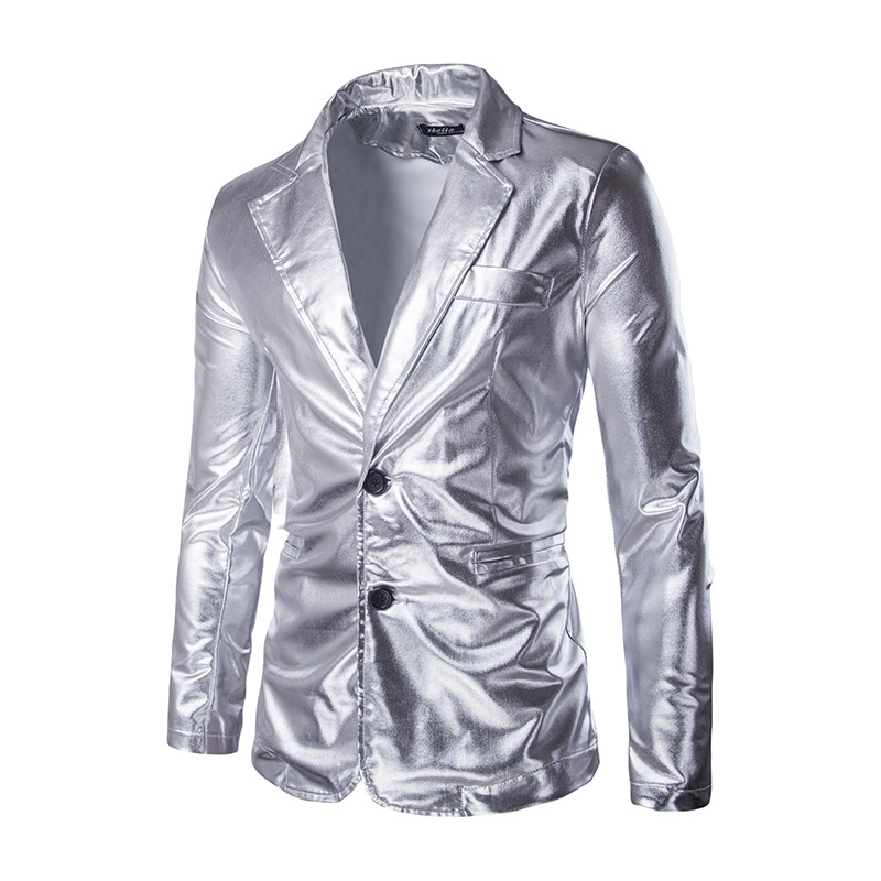 Boucle Hommes Masculino Homme Robe Costumes Petit Blazer Costume Noir Grain  Estampage À Chaud L homme Un Veste or Brillant ... 1aa48b63673