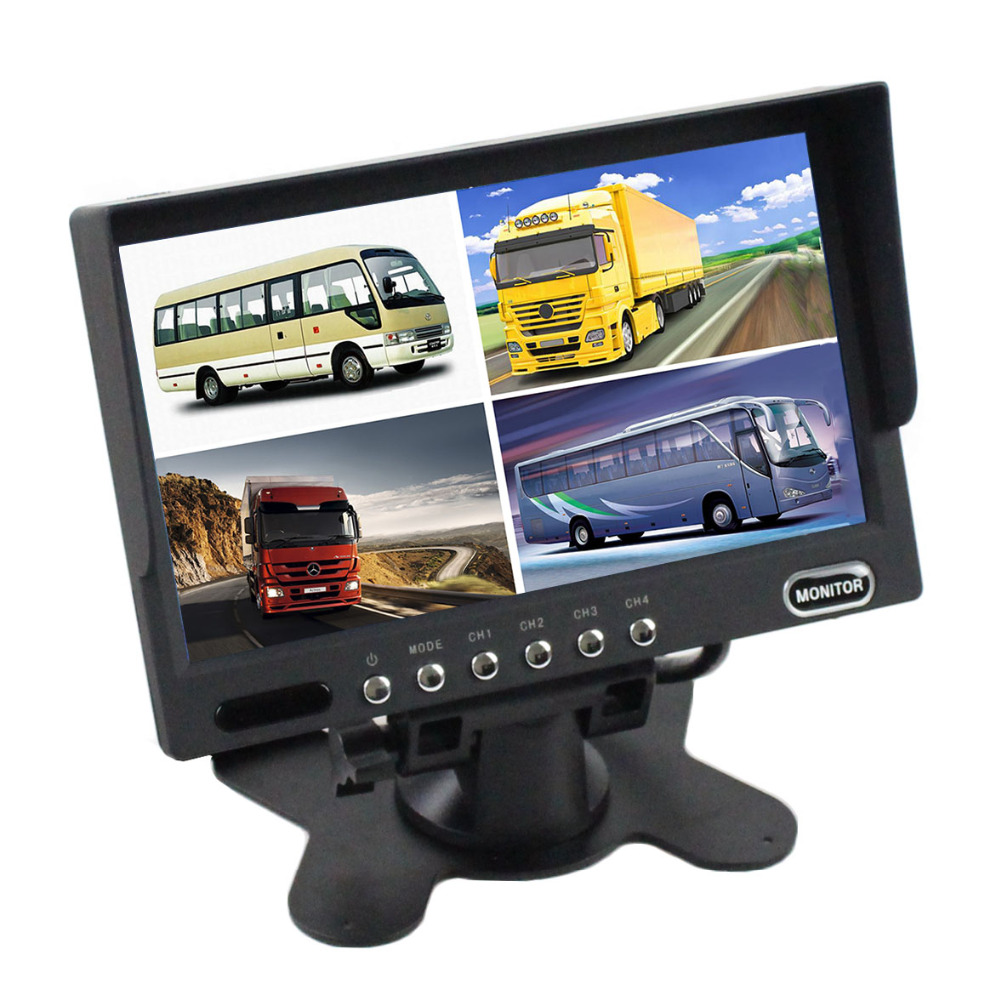 DIYSECUR High Quality 7 Inch 4 Split Quad Display Color Rear View Monitor Video Security Monitor diysecur 4pin dc12v 24v 7 inch 4 split quad lcd screen display rear view video security monitor for car truck bus cctv camera