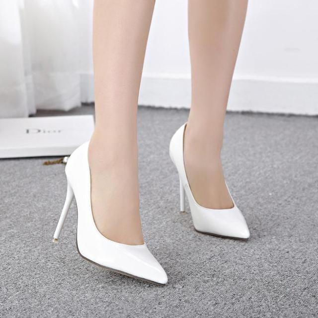 2014 New Sexy Women Bride White Low Heel Shoes Wedding Pointed Toe ...