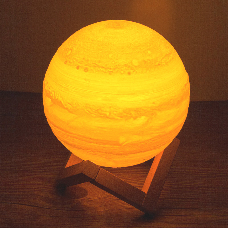 USB Rechargeable 3D Print Jupiter Moon Luminaria Lamp table desk dream Night Light Touch Bedroom 2 Color Decor bulb Creative