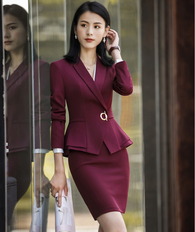 Ladies Office Uniform Designs Business Suits With Skirt And Tops Autumn Winter Fashion Wine Formal Work Wear Sets Blazer