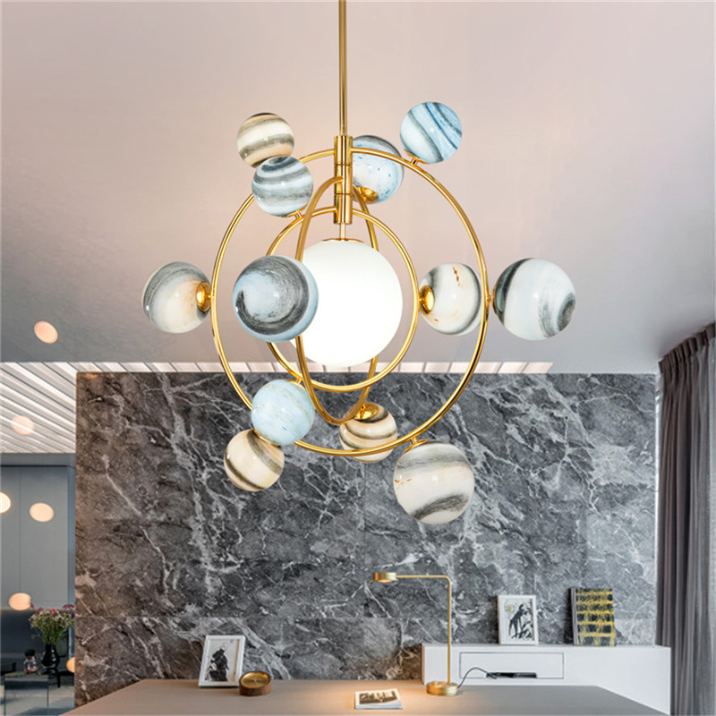 Lustres nordiques en verre coloré nouveauté lampe bar boutique Europe salle à manger chambre suspendus décoré luminaire G9 LED ampoule