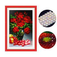 50*75 cm 3D ronde forme spéciale diamant peinture point de croix fleurs 5d diamant peinture diamant broderie perles strass