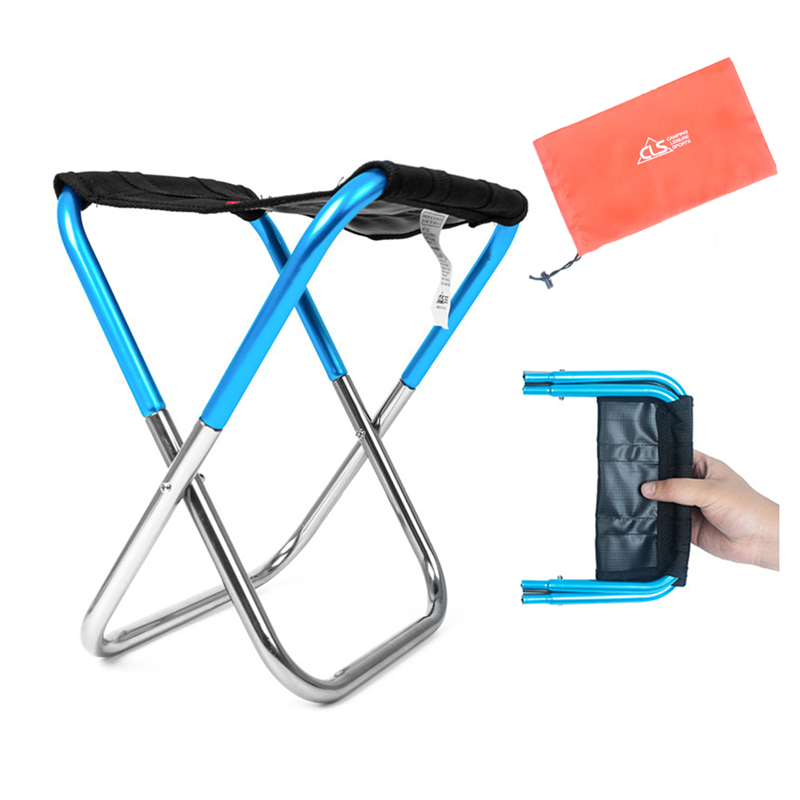 Outdoor Folding Chair, Portable Foldable Ultralight Aluminum Ideal Camping Travel Stool Fold Up Fishing Stool