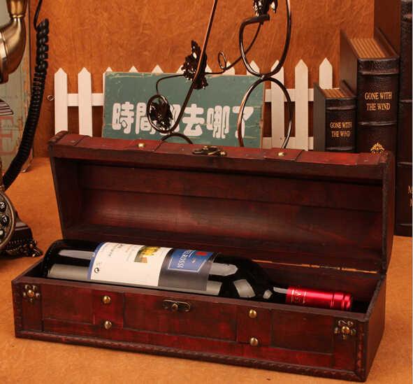 Винтажная Архаическая коробка для красного вина, портативная деревянная коробка для вина, ретро Подарочная коробка для хранения вина, упаковка для бутылок, аксессуары для бара с ручкой Wth