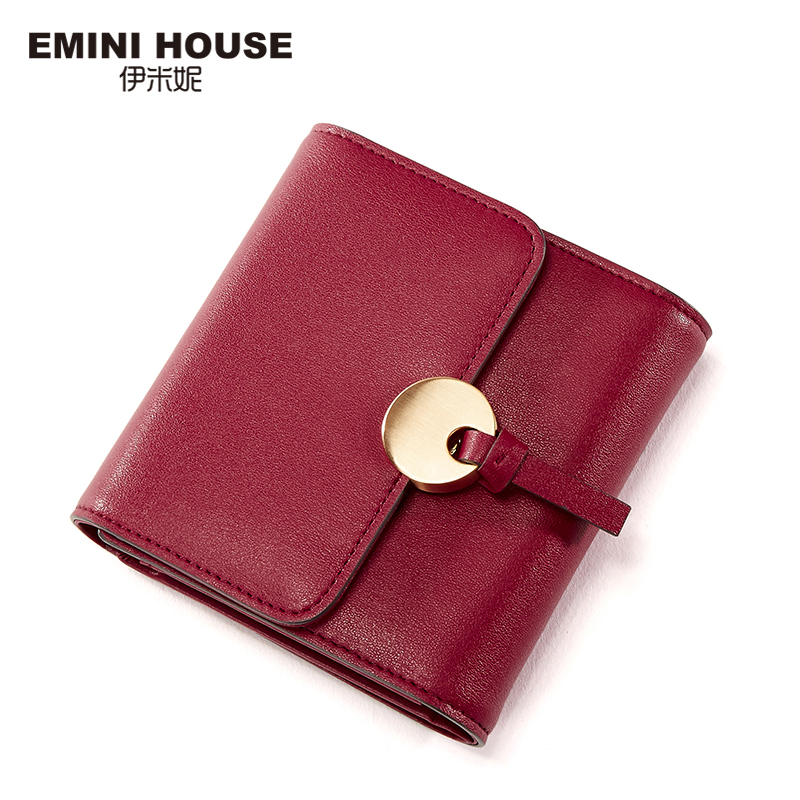 EMINI HOUSE Padlock Coin Wallet Split Leather Short Change Purse For Coins Women Mini Wallet Handy Travel Purse Sweet Ladies Bag