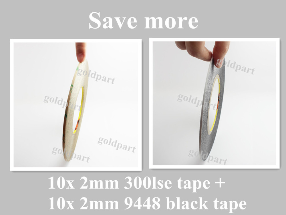 10x 2mm 3M 9495LE 300LSE Super Strong Clear Double Sided Adhesive tape + 10x 2mm 9448 Black Tape for Phone LCD Frame Case #TC14 120pcs 2mm 10cm super strong 3m pet double sided adhesive sticker for iphone ipad huawei cellphone touch screen lcd frame fix