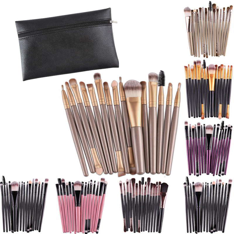 15Pcs Professional Makeup Brushes Set Powder Foundation Eyeshadow Make Up Brushes Cosmetics Soft Synthetic Hair Black Bag(China)