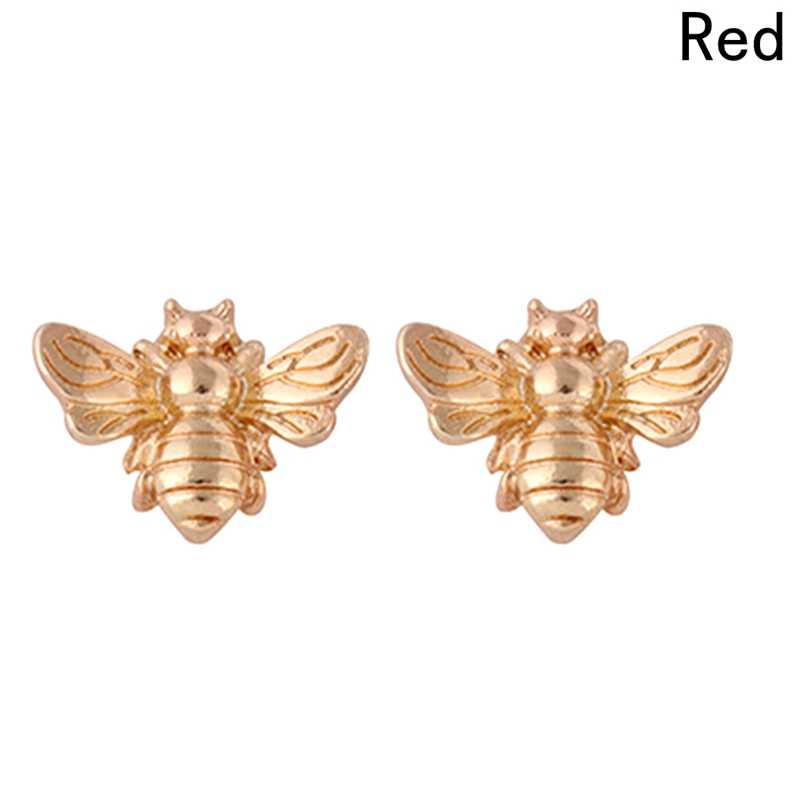 1 Pair Lucu Silver/Emas Warna Madu Madu Bee Earrings Kecil Mode Stud Earrings Serangga Terbang Burung Lucu Kreatif Bee Stud Earrings