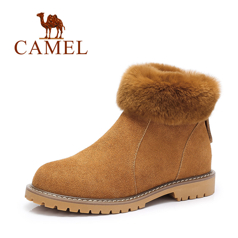 Camel Boots Brand New Winter Women Genuine Leather Boots Fashion Rabbit Fur Ankle Boots