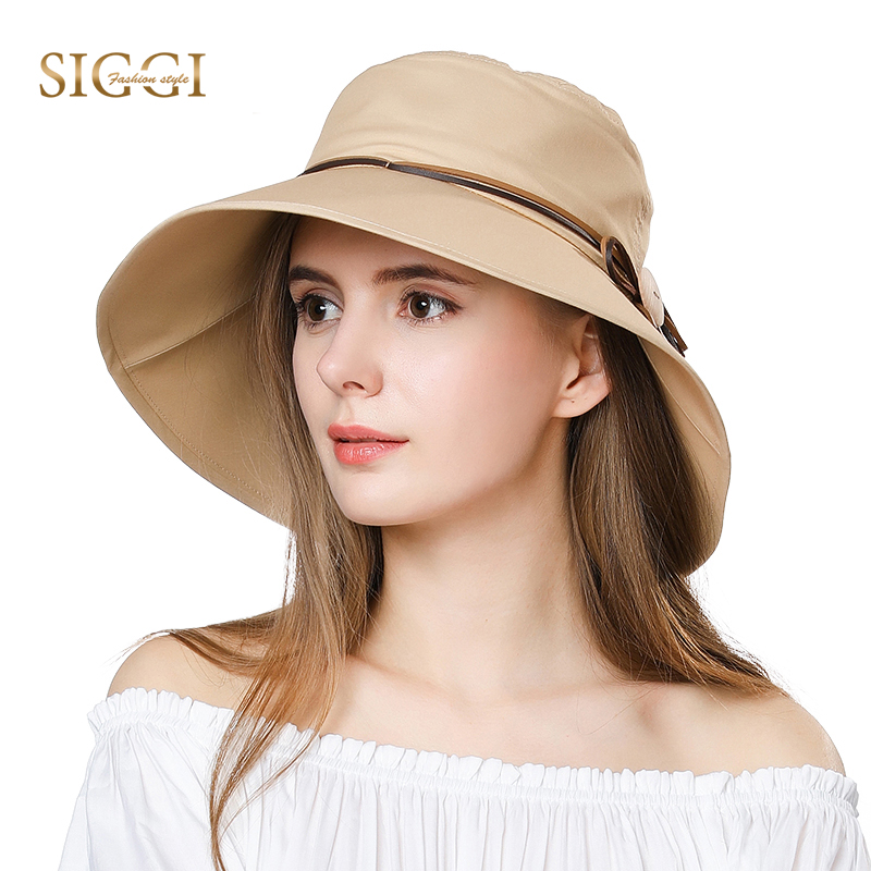FANCE Wanita Summer Sun Hat Wide Brim Chapeu Feminino Praia Chapeau Femme For Girl Packable UPF50 + UV Bucket Cap Cord Beach 69046