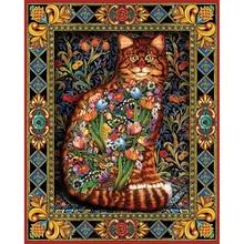 Charming Floral Cat Printed DIYDiamond Painting