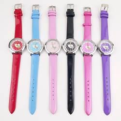 100 шт./партия, оптовая продажа, модные детские нарядные часы в форме сердца, маленькие кожаные Наручные часы для девочек, женские часы