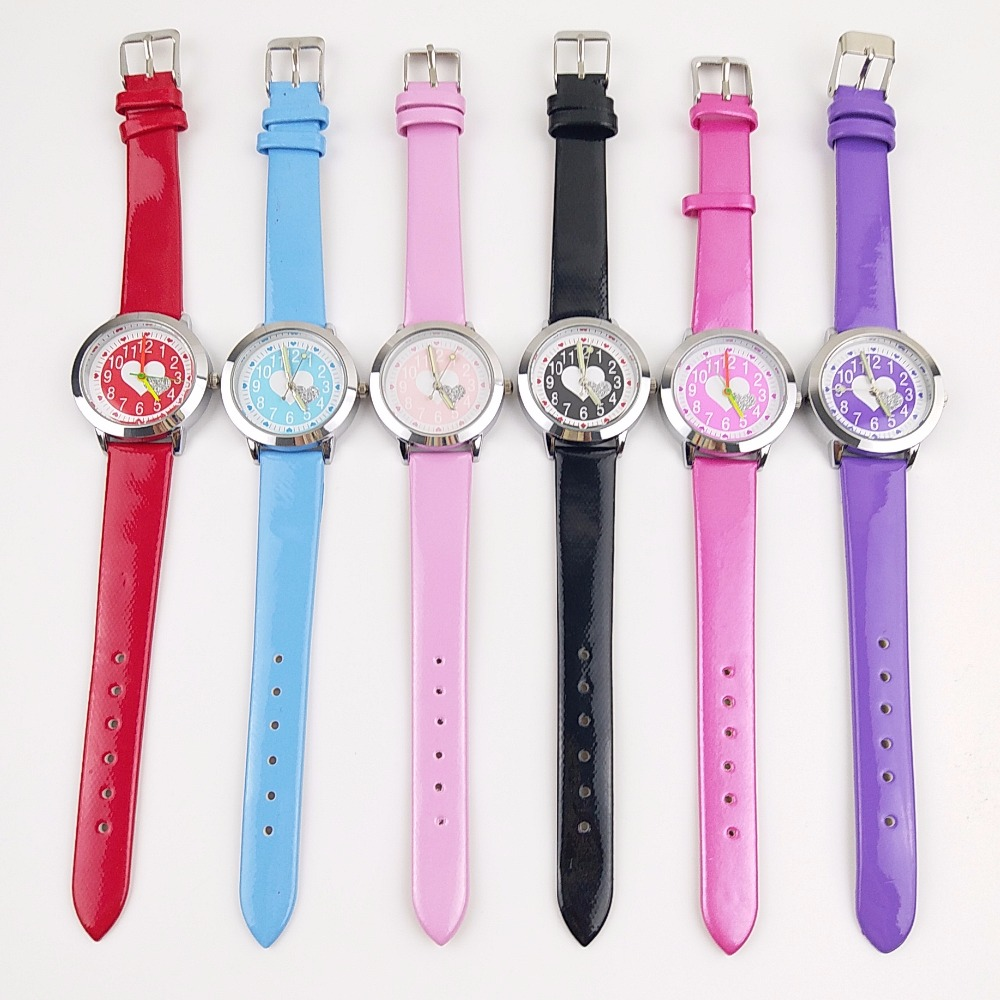 100pcs/lot Wholesales Fashion Heart-shaped Design Kids Clock Time Party Watches Girls Small Leather WristWatches Relogio Female