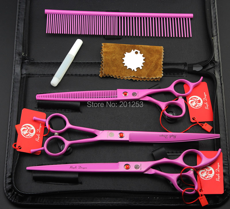 3Pcs/set 8.0Inch JP440C  Professional Pink Pet Grooming Scissors Painted Pet Shears Straight &Thinning&Curved  Scissors LZS0608 7 0inch jp440c professional pet grooming scissors dog shears fish bone scissors straight