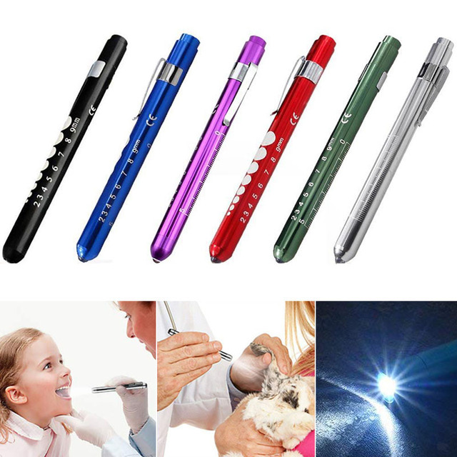 Portable LED Flashlight Work Light Medical First Aid Pen Light Torch Lamp With Pupil Gauge Measurements Doctor Nurse Diagnosis