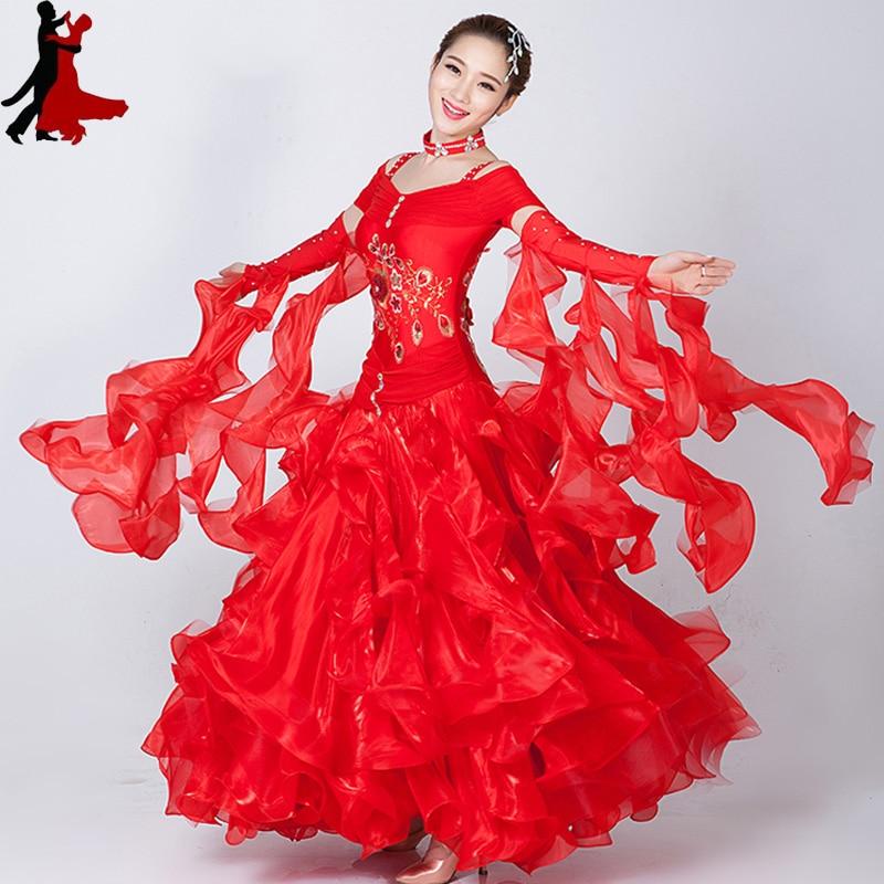 new sexy fashion Modern Ballroom Dancing Dress Embroidery Waltz Tango Ballroom Competition Costumes freeshipping hot sale