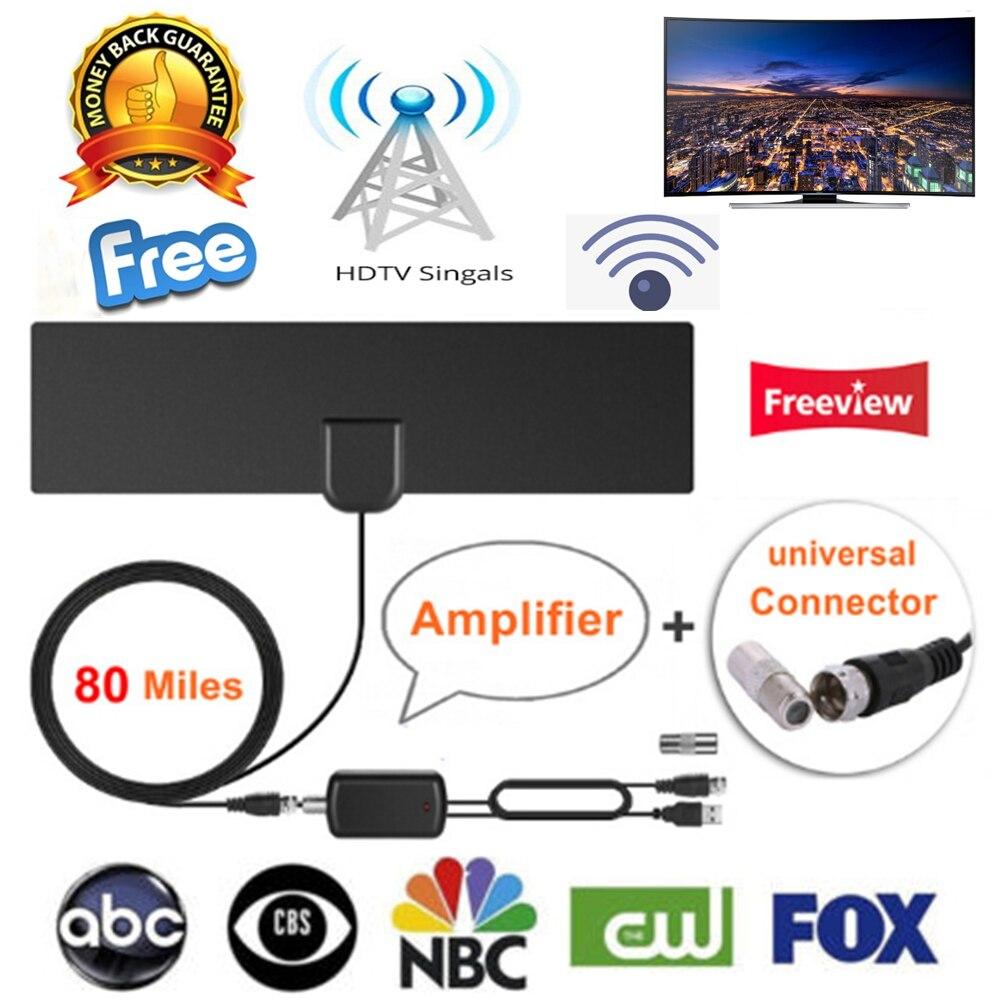 80 miles Intérieur Numérique HD Amplifié TV Antenne Livraison Aérienne TV renard DVB-T2 Pour vivre chaînes locales Mise À Jour Version TV DVB-T Surf