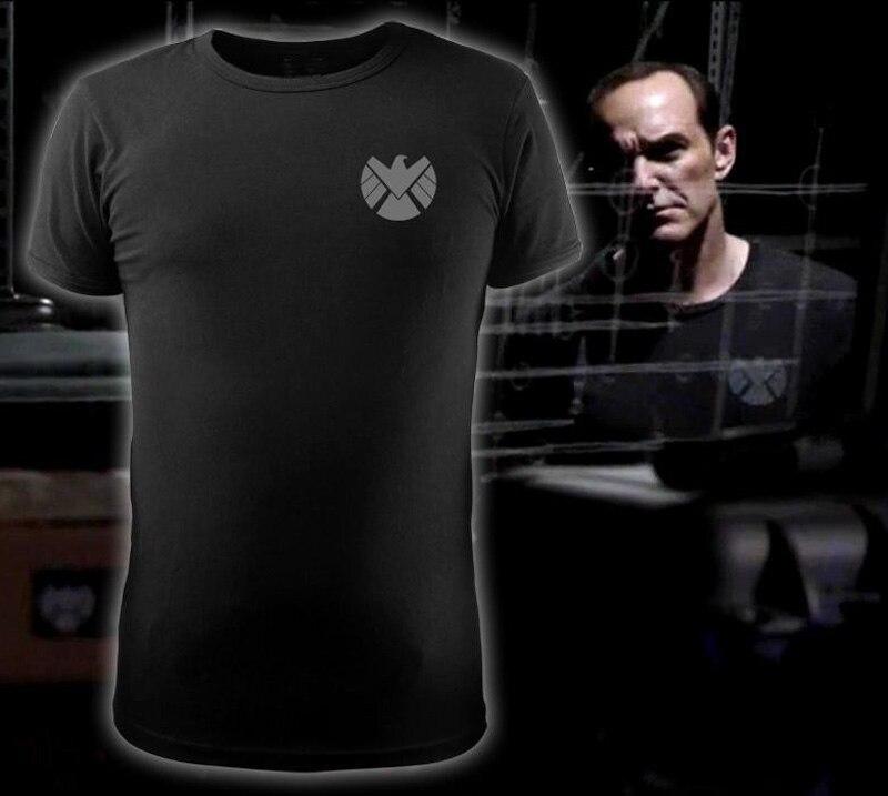 Hommes T-shirt Agents du S.H.I.E.L.D. LOGO Mince T-shirt en Coton Noir L'agent Phil Coulson Chemise O-cou Hauts T-shirts