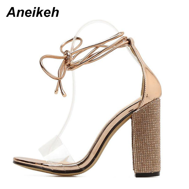 Aneikeh Women High Heels Sandals Summer Square Heels Crystal Heeled Platform Shoes Ladies Sexy Party Wedding Lace Up Shoes 4