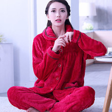 купить Sexy Green Winter Female Pajama Thick Flannel Flower Print Warm Pajama Set Long Sleeve Full Trousers Two Piece 2019 SY1010 по цене 266.62 рублей