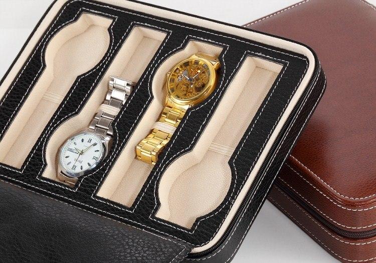 Relógio de Couro Preto Relógio De Viagem