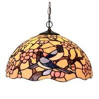 Scandinavian Rustic Tiffanylamp,Luxury Art Deco Bird LED Large Wall Hanging Pendant Lamp Light Salon Hotel Dining House Lighting