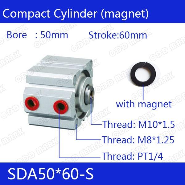 SDA50*60-s Бесплатная доставка 50 мм Диаметр 60 мм ход компактный воздуха цилиндры SDA50X60-с двойного действия воздуха пневматический цилиндр