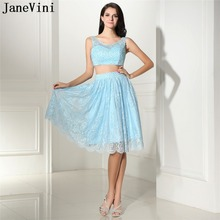 JaneVini Elegant Light Sky Blue Lace Two Pieces Prom Dresses Scoop Neck Beading Backless A Line Knee Length Formal Party Gowns