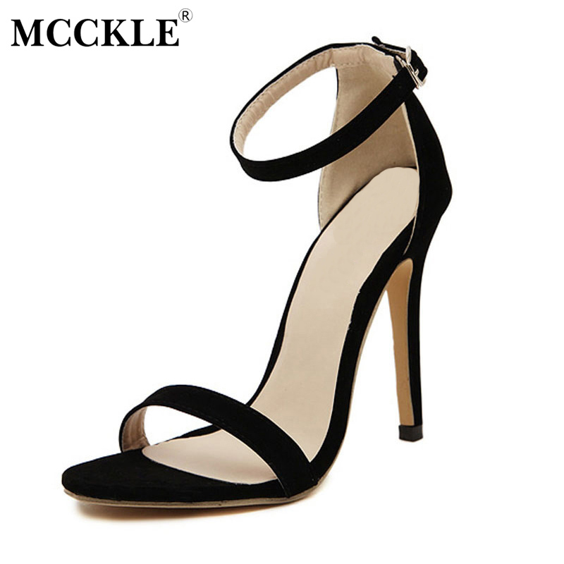 MCCKLE 2017 Fashion Women Shoes Woman Sandals Black Buckle Open Toe High Heel Casual New Comfortable Pumps Ankle Strap Summer xiaying smile summer new woman sandals platform women pumps buckle strap high square heel fashion casual flock lady women shoes