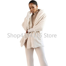 Fleece Two Piece Set Long Sleeve Hooded Cardigan Coat AQ01