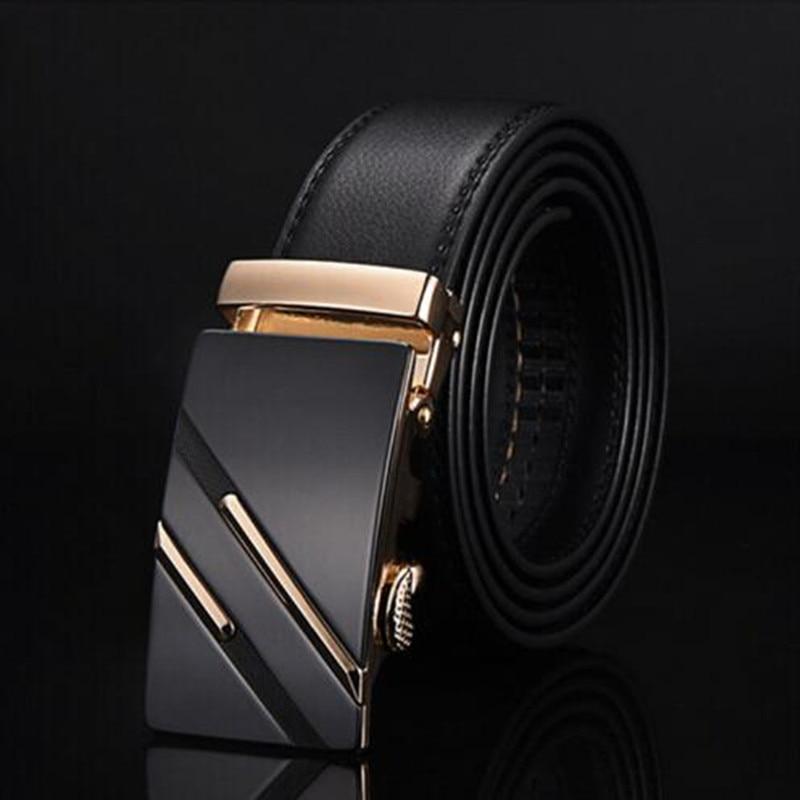 2018 العلامة التجارية الشهيرة حزام الرجال جلد طبيعي فاخر أحزمة رجال الأعمال للرجال ، حزام الذكور مشبك معدني التلقائي