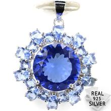 Guaranteed Real 925 Solid Sterling Silver 4.3g Deluxe Round Rich Blue Violet Tanzanite CZ Pendant 30x23mm