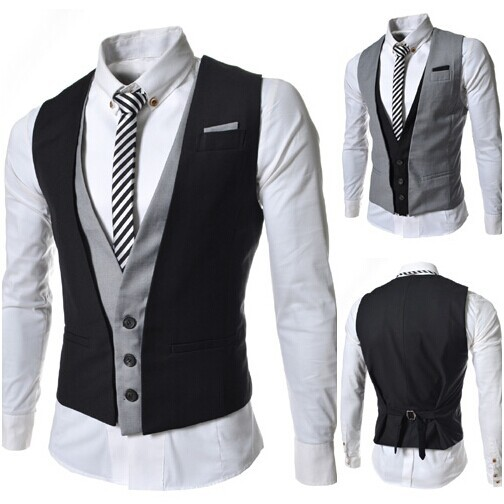 Men Suit Vest Fake Two Piece Fashion Vests Casual Waistcoat Man ...