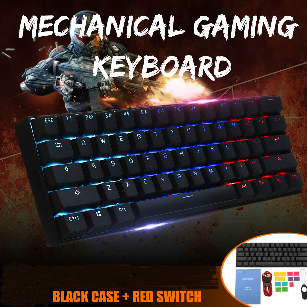 Gateron Switch Obins Anne NKRO Bluetooth 4.0 Type C RGB Mechanical Gaming Keyboard Computer Peripherals