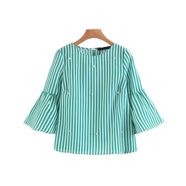 eee9676d1e79c Mulheres Pérola Beading Sino Manga Alargamento Cropped Top Camisa Verde  Blusa Listrada Camisas Gola Redonda Verão