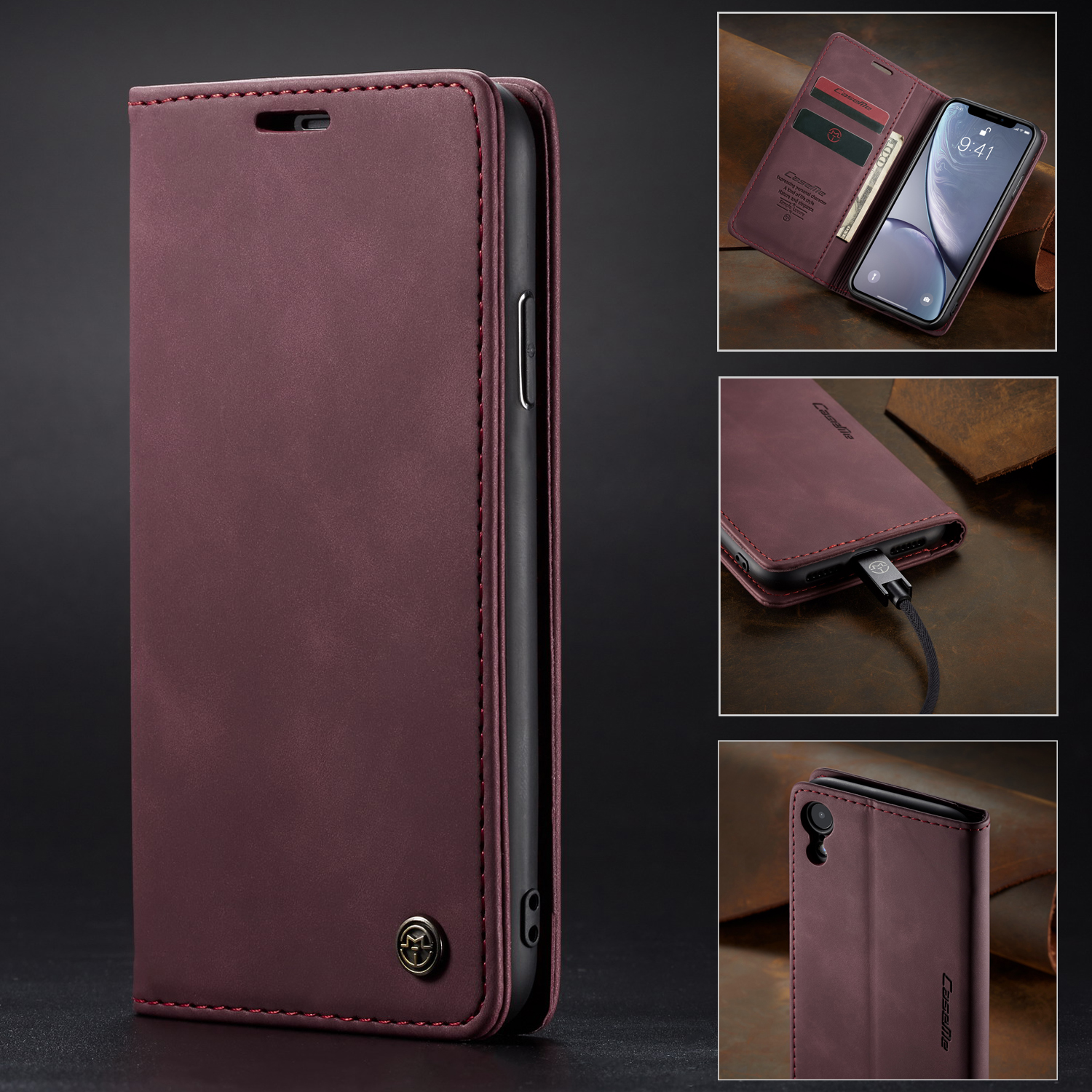 <font><b>Original</b></font> Brand Luxury Matte Leather <font><b>Case</b></font> For <font><b>iPhone</b></font> <font><b>X</b></font> <font><b>XS</b></font> MAX XR 6 6s 7 8 Plus 5s SE Auto Magnetic Flip Wallet <font><b>Case</b></font> Cover <font><b>XS</b></font> MAX image