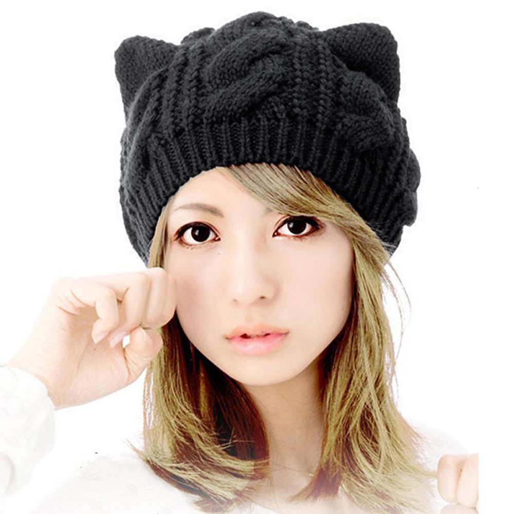 Woman Winter Hat Womens Beanies Knitted Hat With Ears Cat Keep Warm Winter  Girl Cap Women Cappello Donna  810-in Skullies   Beanies from Apparel  Accessories ... 38c76fcd80