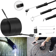 5.5mm Lens Android USB Type-C Endoscope Camera Flexible Snake USB Type C Hard Wire  10M Cable Inspection Camera Borescope