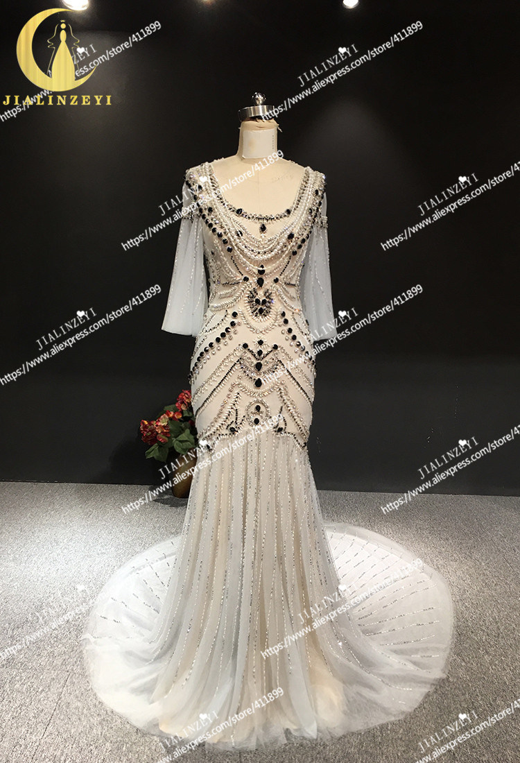 JIALINZEYI Real Sexy Luxe Kristal Hoge Kwaliteit Mermaid jurken Licht Sliver Hot Koop Avondjurken 2019 - 2
