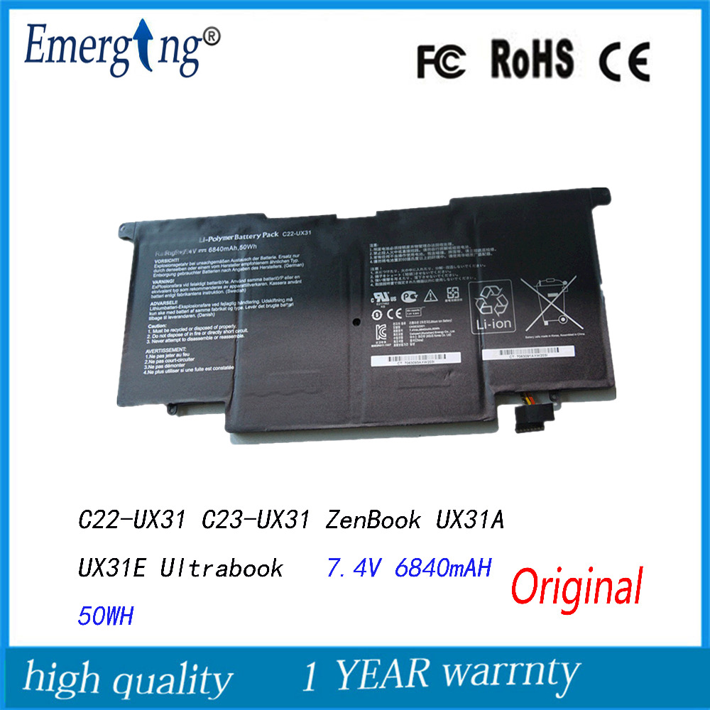 7.4V 50Wh New Original Laptop Battery For Asus C22-UX31 C23-UX31 ZenBook UX31A UX31E Ultrabook ux31 UX31A-R4004H UX31E-DH72 for asus zenbook ux31 ux31e ux31a ux31e ux32a ux32e ux32v ux32vd k ux31a ux31e bx32 laptop keyboard it italian backlight paper