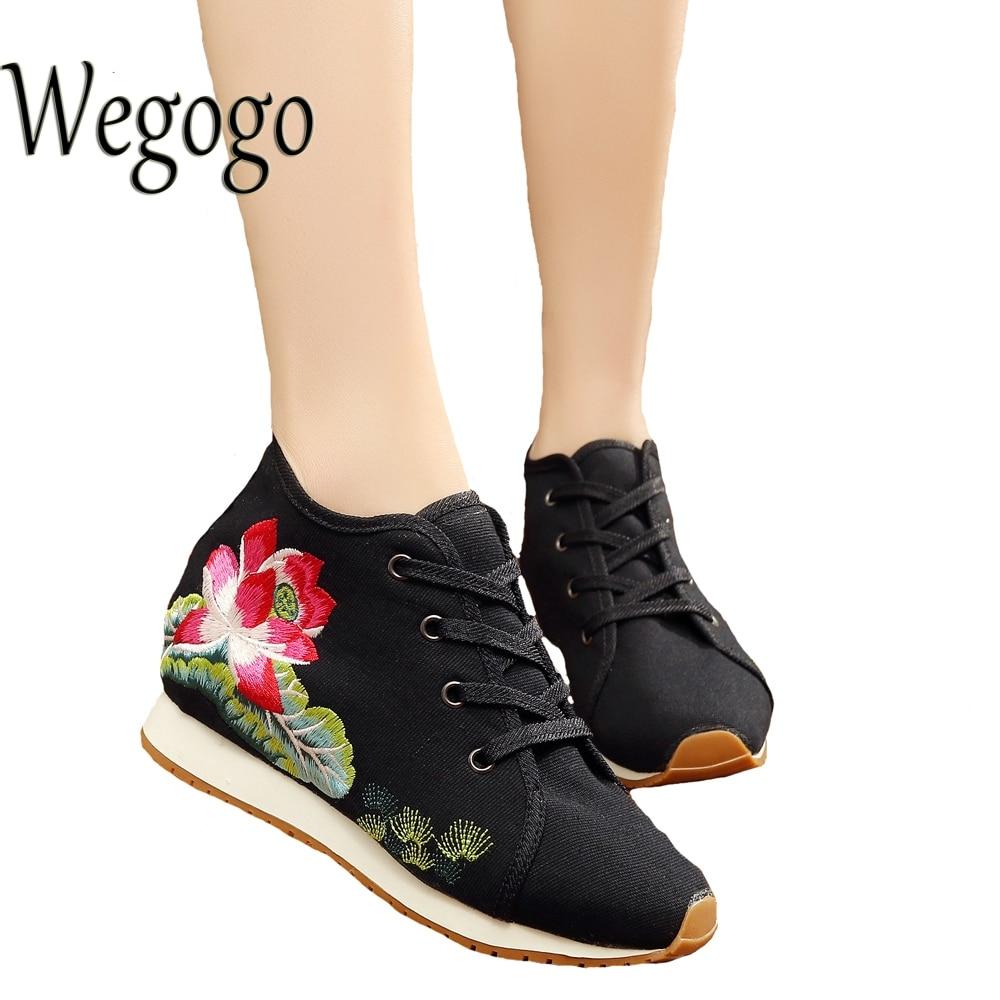 Zapatos de Las Mujeres de Loto Wegogo Bordado bolsa de Viaje de Lona Atan Para A