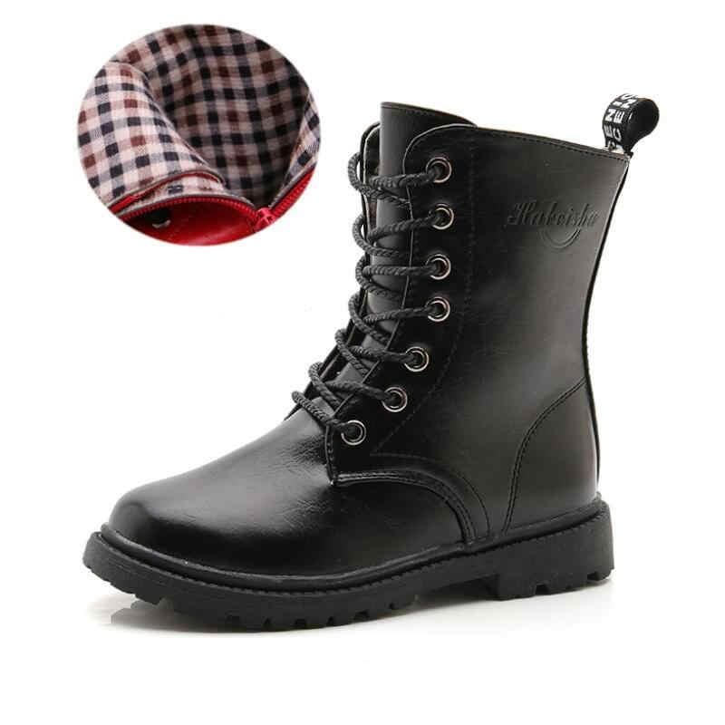 Erkek Kız Çizmeler çocuk Kış Botları Ayakkabı Su Geçirmez Martin Çizme Ayak Bileği Çocuklar Kadın Kar Kürk Kırmızı Siyah