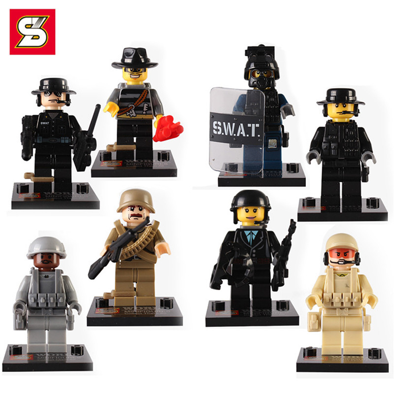 Modern War City Police Army Soldiers Military Minifigures Weapon Guns Compatible Legoes Swat Team Building Blocks Sets - COASTLINE TOY store
