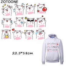 ZOTOONE Cute Cartoon Pig Patches Iron on Transfers for Clothing Applique Stickers Clothes DIY Heat Transfer Vinyl E